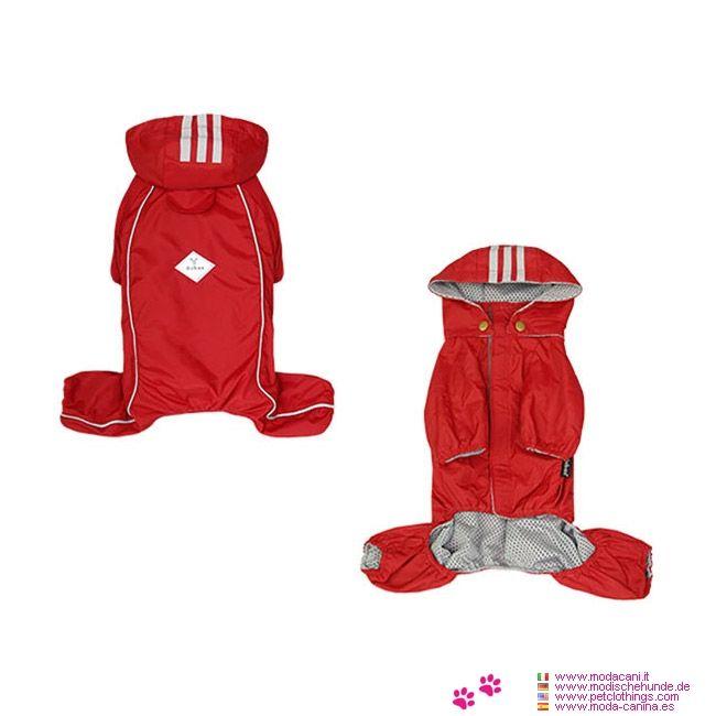 Impermeabile Cane Piccolo 4 zampe Rosso con Cappuccio Staccabile - Impermeabile per cane piccolo (e medio-piccolo), che copre tutte e 4 le zampe: sia le zampe anteriori che le zampe posteriori