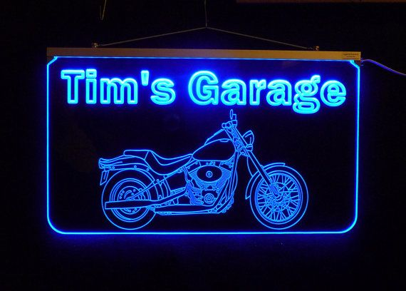 Light Up Signs Custom: Personalized Custom LED Garage Sign, Motorcycle Sign, Man