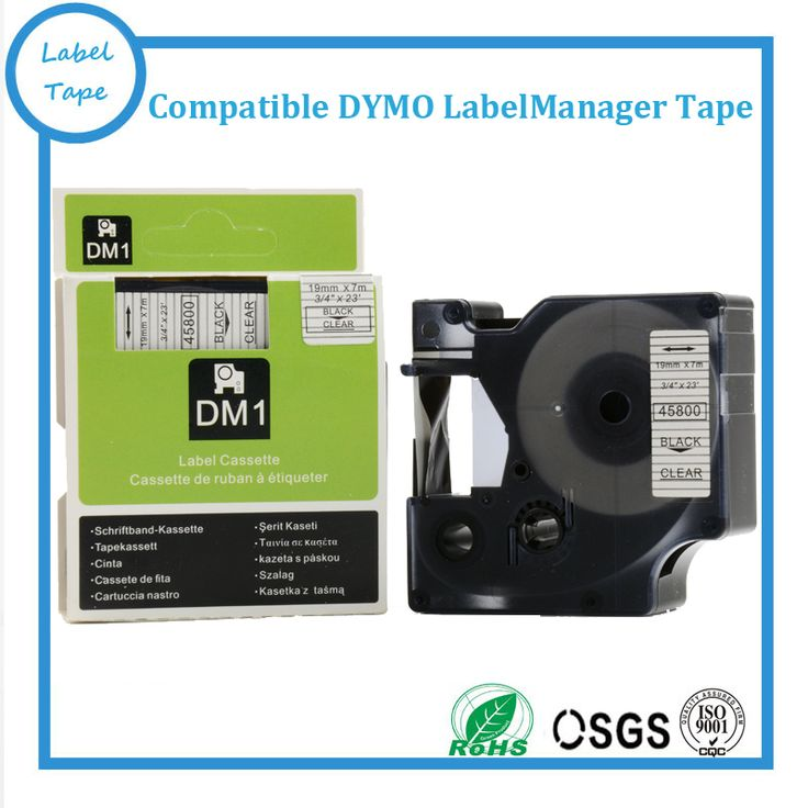 Free shipping 3pcs 19mm black on clear DYMO 45800 labels Compatible DYMO D1 label tapes