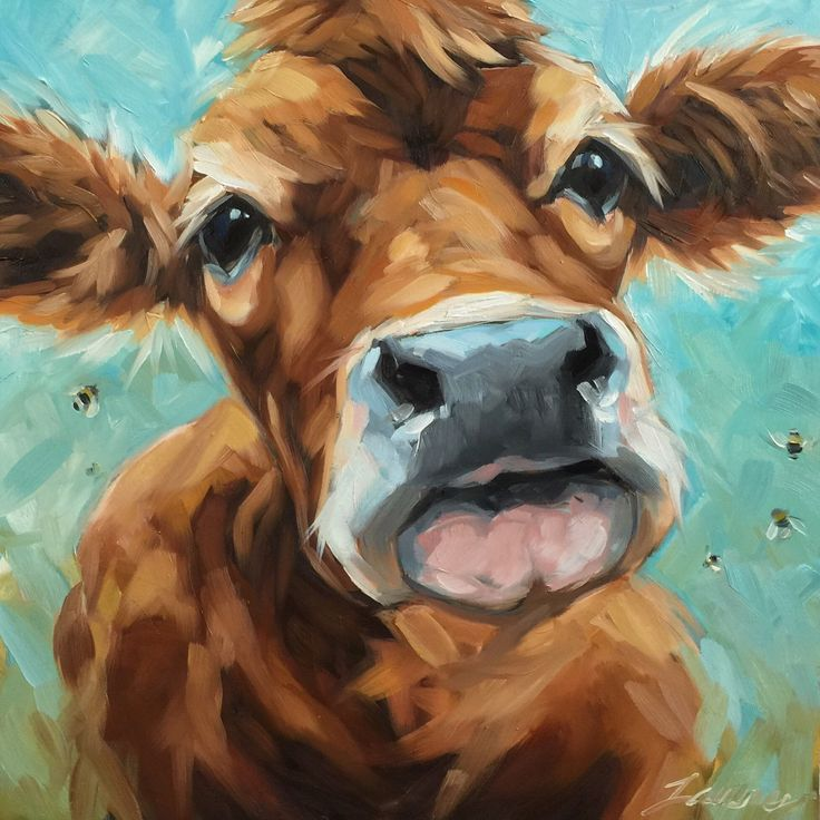 "Cow painting, Original impressionistic oil painting of a cow and bees by Andrea Lavery, 12x12"" on panel, paintings of cows and farm animals by LaveryART on Etsy"