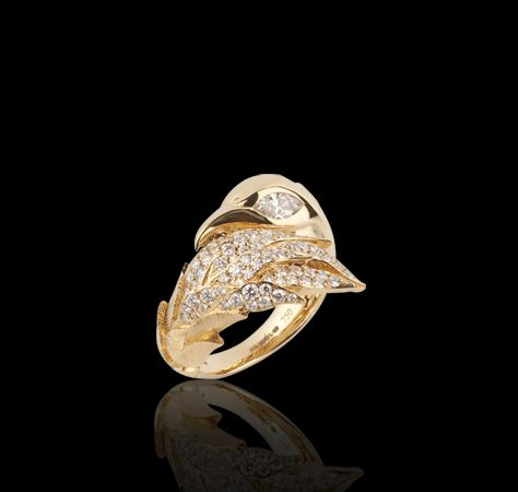 Feather bird ring, with white diamond detailing Rings Jewellery Garrard