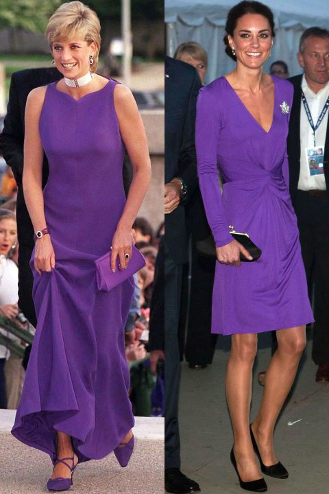 Diana in Versace at a dinner at the Field Museum Of Natural History in Chicago in June 1996; Kate celebrates National Canada Day in an Issa dress during the Royal Tour of North America in July 2011.
