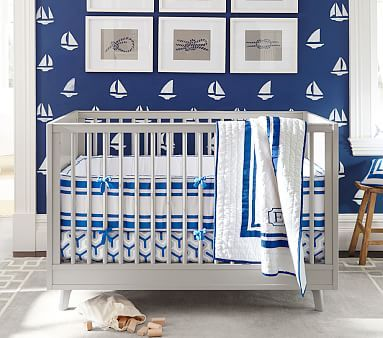 Organic Harper Geo Nursery Bedding Quilt Set, Nautical Blue