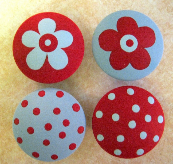 Set of 8 - RED and BLUE - Polka Dots and FLOWERS - Hand Painted Dresser Drawer Knobs. $30.00, via Etsy.