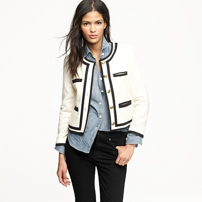 Not a big JCrew fan (this look would so never work in real life) but the contrary styling is creative.