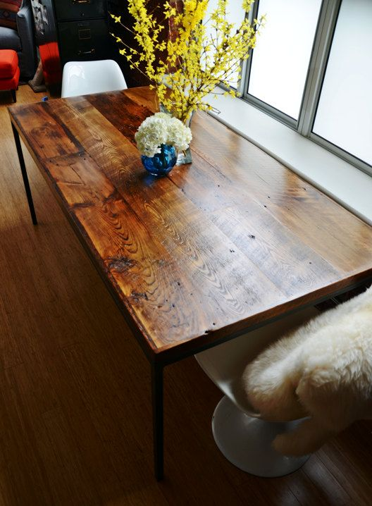 Barn Board Kitchen Dining Table, Reclaimed Ontario Barnboards, Barn Wood, Home Furnishings, Rustic, Steel Frame, Custom Sizes Available