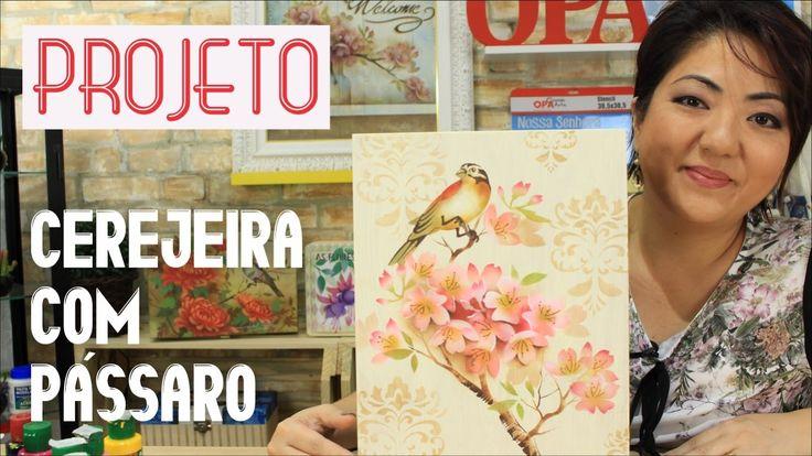 PROJETO | PINTURA COM STENCIL - CEREJEIRA COM PÁSSARO | 13.04.17 | MAYUM...