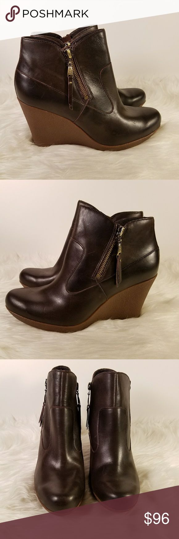 """NWOB Ugg Meredith Leather Wedge Booties This is a pair of Ugg Meredith leather wedge booties.  Features:  - leather uppers with approx. 5"""" shaft  - rubber 3 1/2"""" wedge heel and sole  - zippers on both sides  - wool insole  - rounded toe  New, unworn boots without box or retail tags  6txxbggd/ge UGG Shoes Ankle Boots & Booties"""