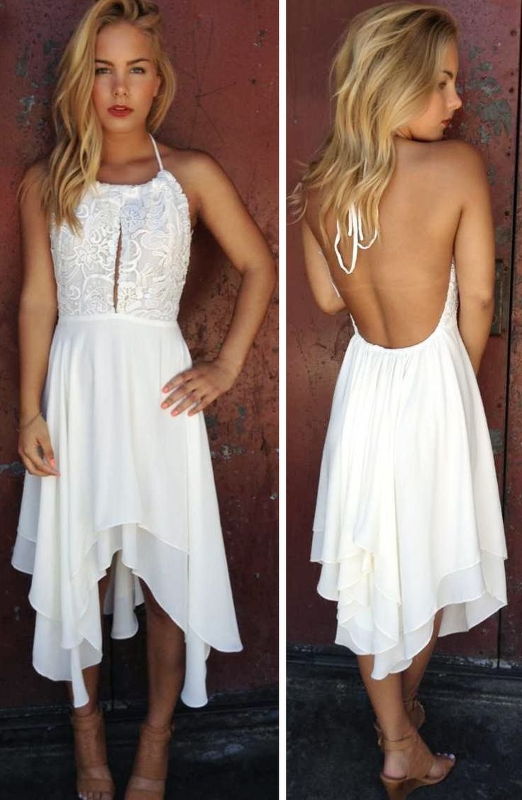 Halter flutter hem dress