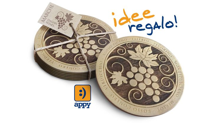 Coasters in wood and Christmas gifts with laser cut printing for winery.