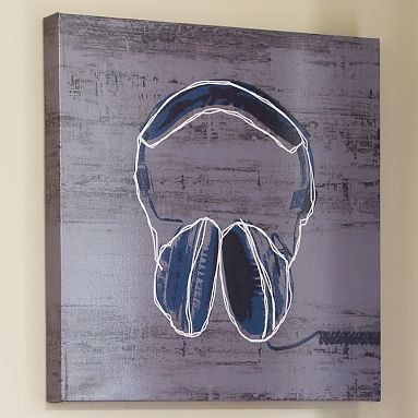 Headphones wall art potterybarnteen for the boy - Teenage wall art ideas ...