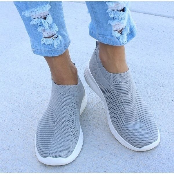 Women/'s Breathable Sneakers Trainers Sport Elastic Mesh Pumps Slip On Sock Shoes
