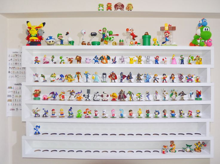 Filling up Amiibo shelves. Clean organized display via Reddit user deliprofesor.