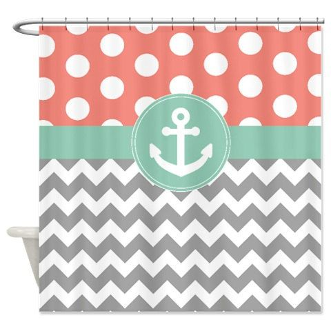Nautical Anchor Shower Curtain-Grayed Jade-Coral-White-Chevron-Polka Dot-Customize with ANY Colors-Standard & Extra long sizes available by GatheredNestDesigns on Etsy https://www.etsy.com/listing/198087226/nautical-anchor-shower-curtain-grayed