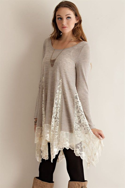 Tunic Sweater Top with Lace Detailing - would be an easy DIY using lace curtain and a jersey sweater.