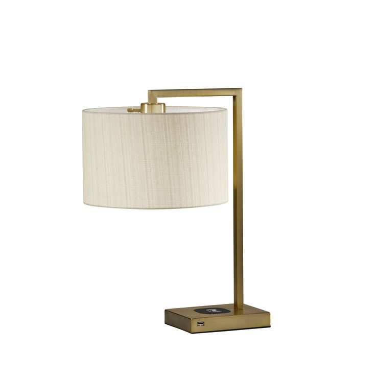 Adesso Austin Wireless Charging Pad Table Lamp Brushed