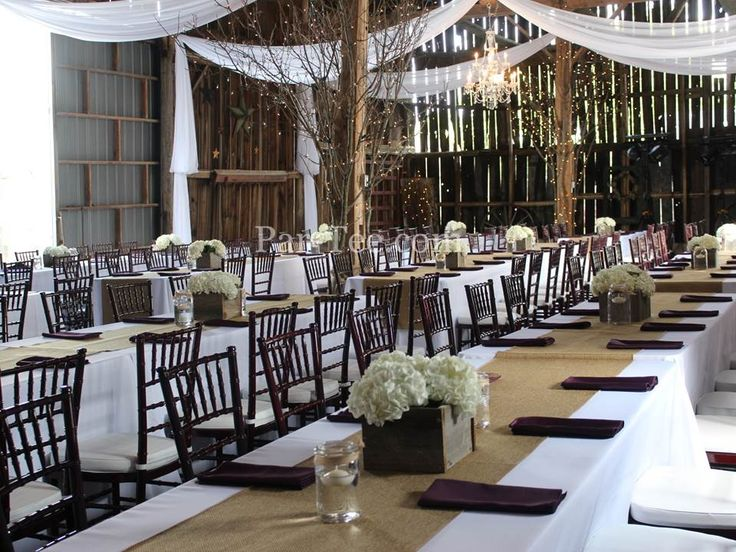 Rustic Wedding Featuring Burlap Table Runners, Custom Ceiling Drapery, and Chiavari Chairs