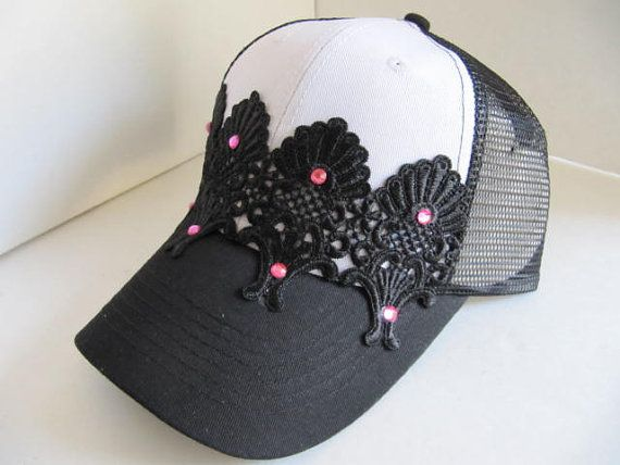 Trucker Hat, Womens Baseball Cap, Hat, Bling, Bling Hat, Swarovski Crytsal Cap, Crystal Cap, Rhinestone Hat, Lace Hat,  Woman Trucker Hat on Etsy, $25.00