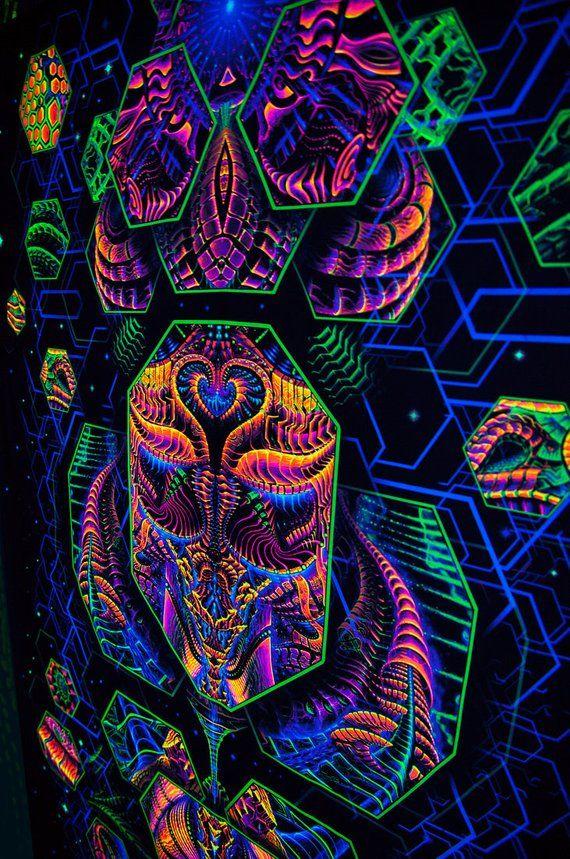 Dimension Matrix Tapestry Blacklight Fluorescent Visonary Art Wall Hanging Psytrance Cosmos Sa