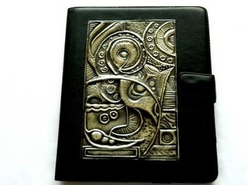 Blackk leather iPad Case Modern Abstract Design by Loutul for $72.00