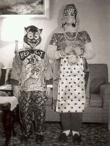 Vintage 1960's Halloween trick or treaters in Hep Cat & gypsy costumes