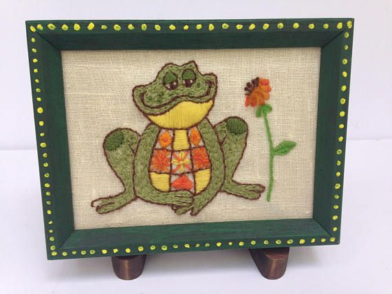 Framed Mr. Frog Emroidery Needlepoint / Crewel Needlepoint Kit