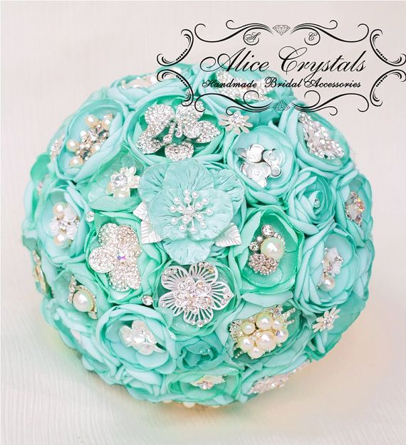 Brooch bouquet mint Tiffany Bouquet. by AliceCrystals on Etsy