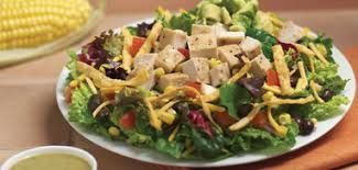 SANTA FE CHICKEN SALAD Bj's Restaurant & Brewhouse Recipe Serves 4 1-1/2 Ounces crisply fried tortilla strips, divided 5 Ounces rom...