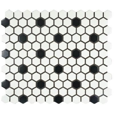 Merola Tile Metro Hex Matte White with Black Dot 10-1/4 in.x 11-3/4 in. x 5 mm Porcelain Mosaic Floor and Wall Tile (8.54 sq.ft./ca)-FDXMHMWD - The Home Depot