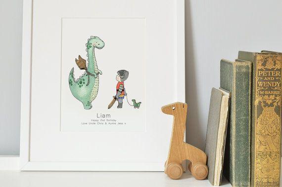 Dinosaur Dragon Art, INGELIJST Kids kinderkamer foto, kinder Print, paard, kasteel thema, jongetje, slaapkamer decor, naam kan worden toegevoegd!