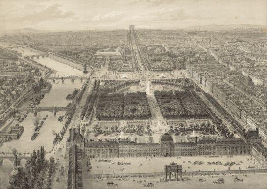 Palais et jardin des Tuileries Vue à vol d'oiseau, prise au-dessus de la Place du Carrousel (estampe XIXe siècle)