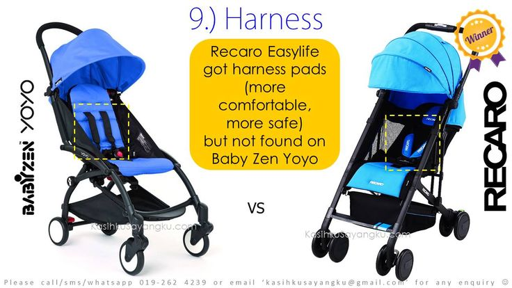 Harness Comparison: Recaro Easylife got harness pads (more comfortable, more safe) but Baby Zen Yoyo doesn't have :) Result? Recaro Easylife Win again!