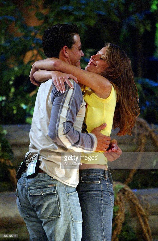 Survivor All-star cast members 'Boston Rob' Mariano and Amber Brkich embrace after Rob proposed marriage and Amber accepted on the set of the Survivor All-stars Finale at Madison Square Garden May 9, 2004 in New York City.