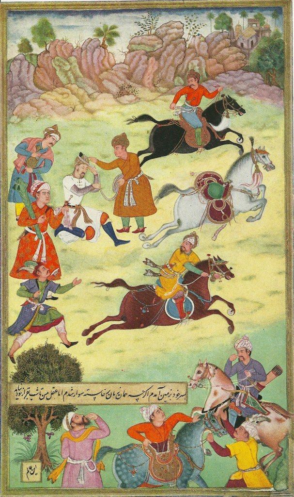 Babur fallen from his horse during a race