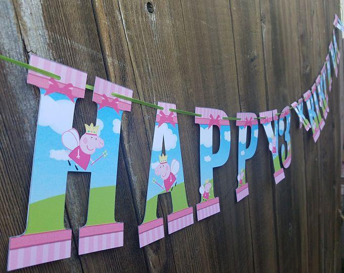 Bandera de Peppa pig, peppa cerdo cumpleaños, partido del cerdo del peppa, fiesta temática de cerdo