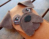 Boxer iPhone Case - Dog Felt Phone Sleeve- Cell Phone Cover - Handmade felt case
