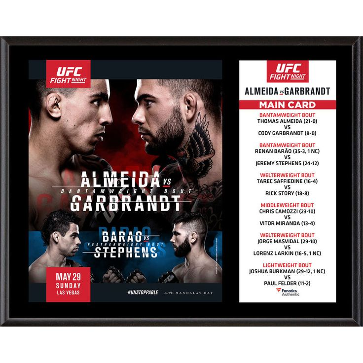 "Fanatics Authentic UFC Fight Night Thomas Almeida vs. Cody Garbrandt 12"" x 15"" Sublimated Plaque"