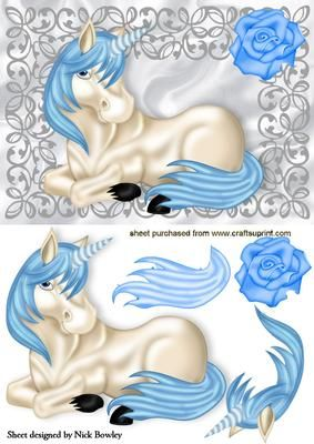 PRETTY UNICORN WITH BLUE ROSE IN SILVER FRAME on Craftsuprint - Add To Basket!