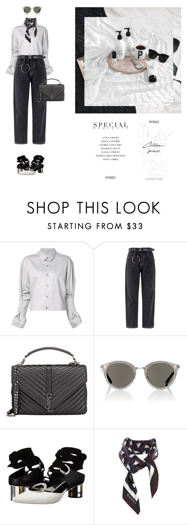 """""""Untitled #2201"""" by yenybarriot on Polyvore featuring Sabine Luise, Yves Saint Laurent, Oliver Peoples, Proenza Schouler and Gucci"""