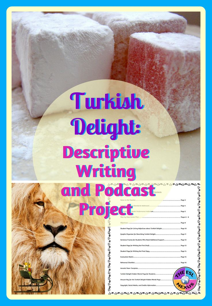 """This project gives students practice in writing descriptions about Turkish Delight, which they can then transform into podcasts.  The resource includes a detailed lesson plan plus handouts for students. Objectives, ELA CCSS standards, WIDA MPIs, and a rubric are also included.  You just need to buy the Turkish Delight!  This is a great activity to accompany the novel """"The Lion, the Witch and the Wardrobe"""" but it can also be implemented if you don't read the novel."""