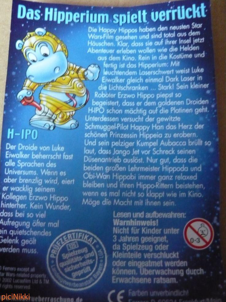 No. 26 | víziló | hippo | Happy Hippo | Kinder | H-IPO | Star Wars