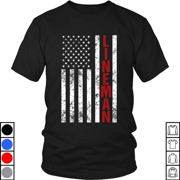Teeecho American Flag Lineman T Shirt Sweatshirt Hoodie For Men