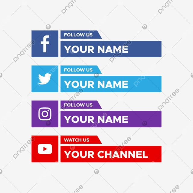 Social Media Lower Third With Facebook Twitter Youtube Logo Collection Social Media Clipart Modern Illustration Png And Vector With Transparent Background Fo Youtube Logo Logo Collection Social Media
