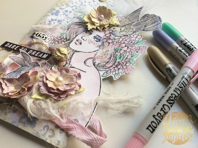 tag scrapbook with distress crayons