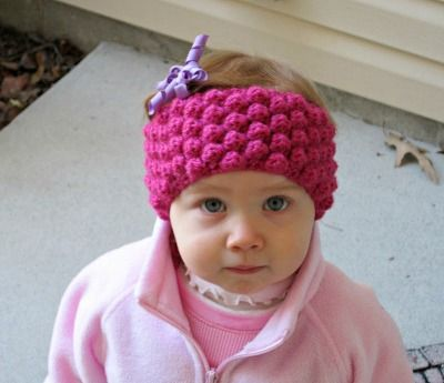 Infant Ear Warmer Crochet Pattern : Bobble Baby Ear Warmer Crochet hats and caps Pinterest ...