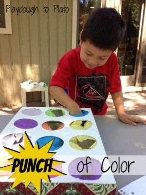 A Punch of Color at Playdough to Plato. Letters, colors, and critical thinking combine with Jen Rice's easy punch box. Kids will have so much fun playing, they won't even realize the activity is educational!