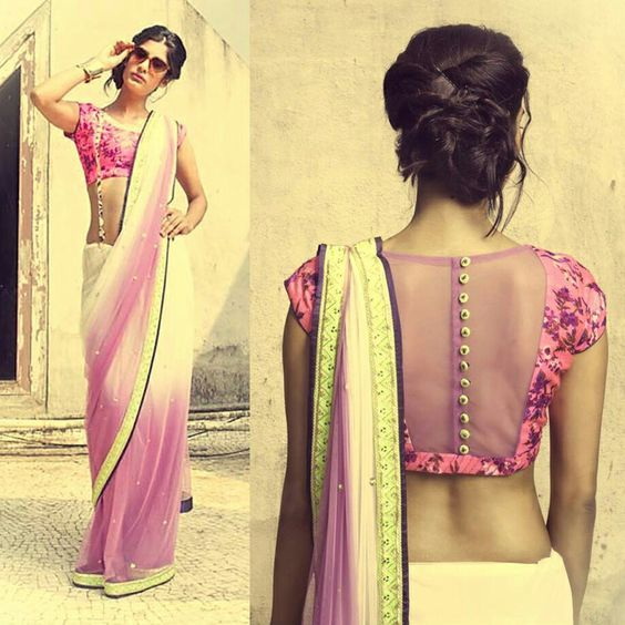 pretty white and pink saree or sari with blouse. Love the blouse design: