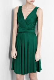Emerald Green V-Neck Dress by DKNY