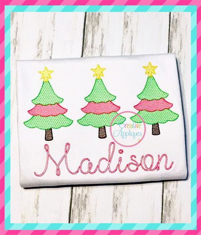 Sketch Scallop Christmas Tree Trio Embroidery Creative Appliques Christmas Embroidery Embroidery Embroidery Fonts