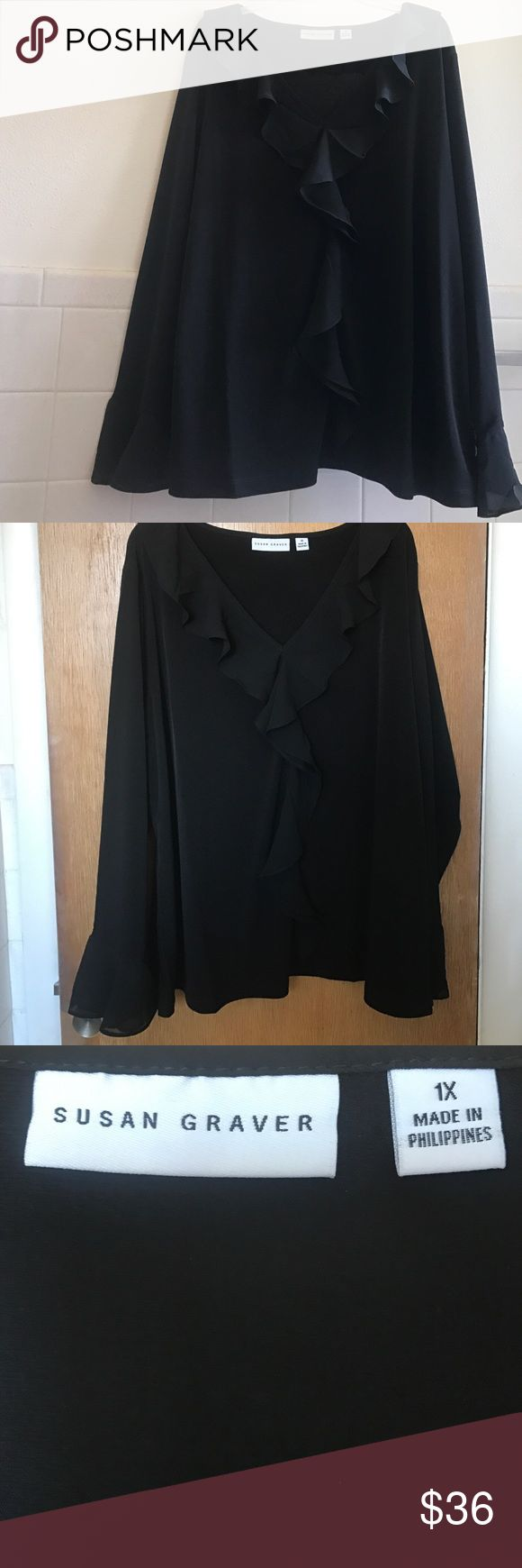 Brand new! Black ruffled Susan Graver top. I adore this top! I wear mine all the time. Sexy for a night out, or perfect for the office. Ruffled detailing, brand new. Susan Graver! Susan Graver Tops Blouses
